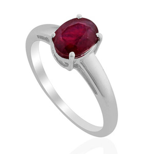 Solitaire African Ruby Platinum Overlay Sterling Silver Ring   1.750  Ct.