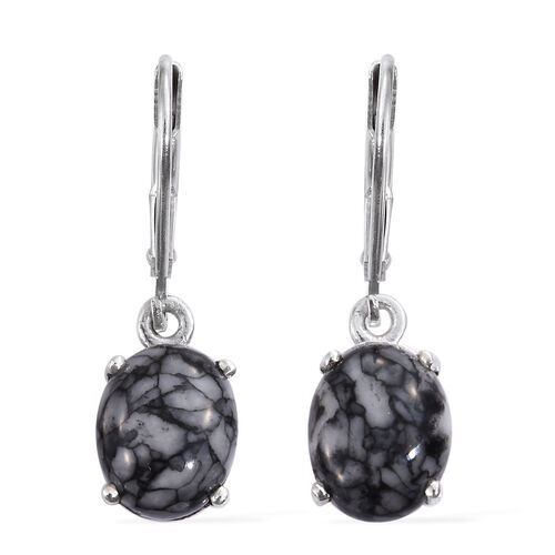 Austrian Pinolith (Ovl) Lever Back Earrings in Platinum Overlay Sterling Silver 5.500 Ct.