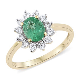 1.50 Carat AA Kagem Zambian Emerald and Natural Cambodian Zircon Halo Ring in 9K Gold