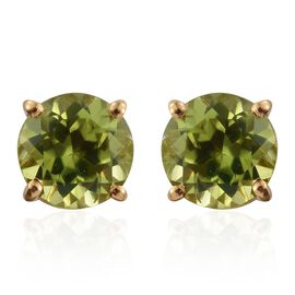 Hebei Peridot (Rnd) Stud Earrings (with Push Back) in 14K Gold Overlay Sterling Silver 1.750 Ct.