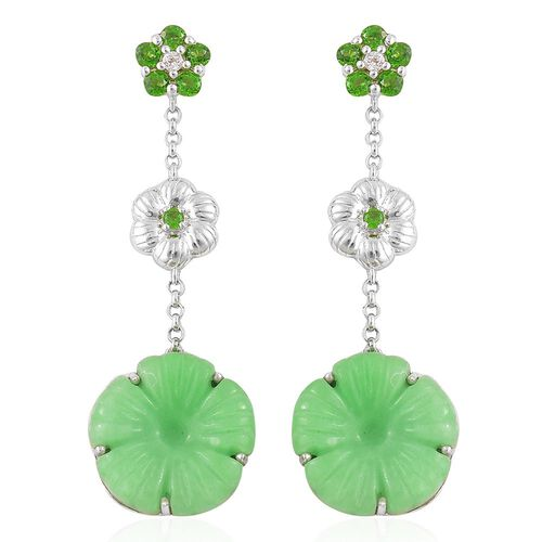 Green Jade, Russian Diopside and White Topaz Floral Dangling Earrings (with Push Back) in Platinum Overlay Sterling Silver 23.245 Ct.