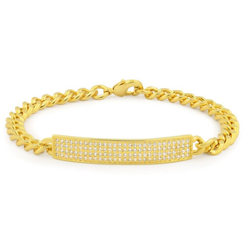 Close Out Deal AAA Simulated Diamond (Rnd) Bracelet (Size 7) in Gold Bond