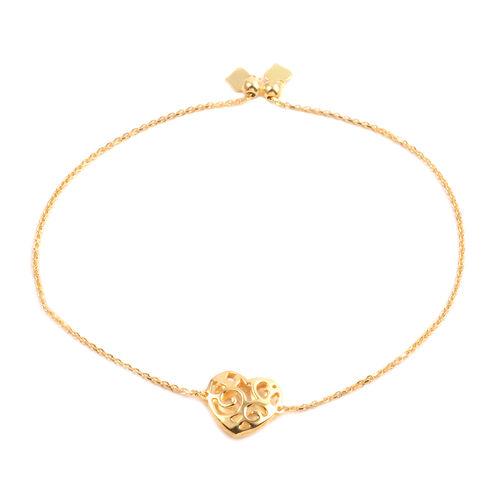 JCK Vegas Collection 14K Gold Overlay Sterling Silver Adjustable Heart Bracelet (Size 6 to 9), Silver wt 2.70 Gms.