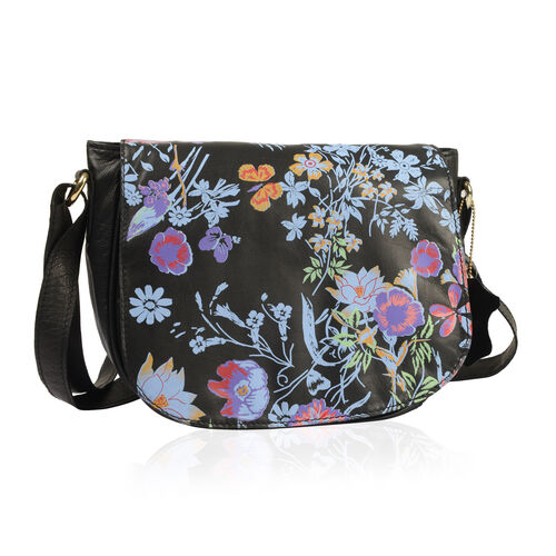 Genuine Leather RFID Blocker Black, Blue and Multi Colour Floral Pattern Sling Bag with Adjustable Shoulder Strap (Size 24X20X7 Cm)