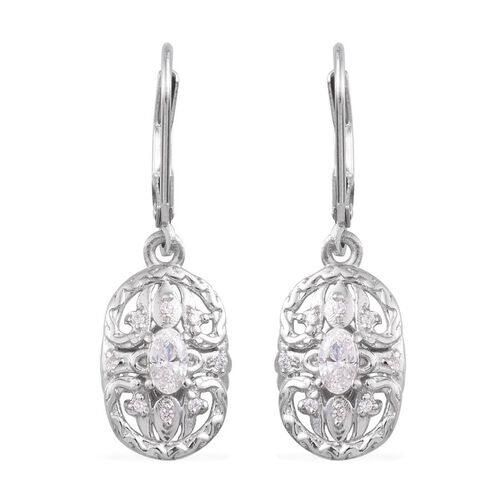 J Francis - Platinum Overlay Sterling Silver (Ovl) Earrings Made with SWAROVSKI ZIRCONIA