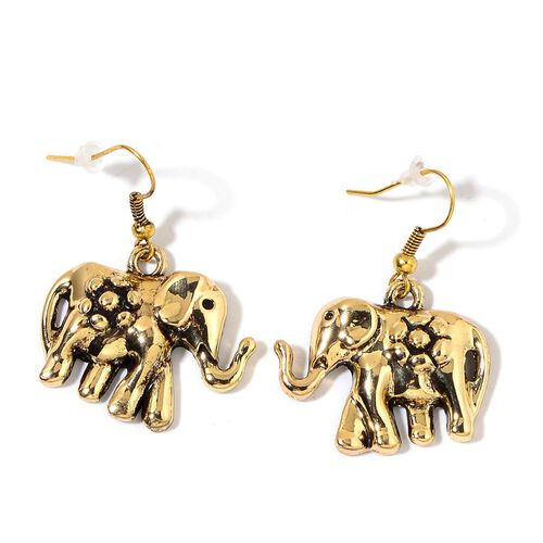 Elephant Necklace (Size 18 with 2 inch Extender) and Hook Earrings in Yellow Gold Tone