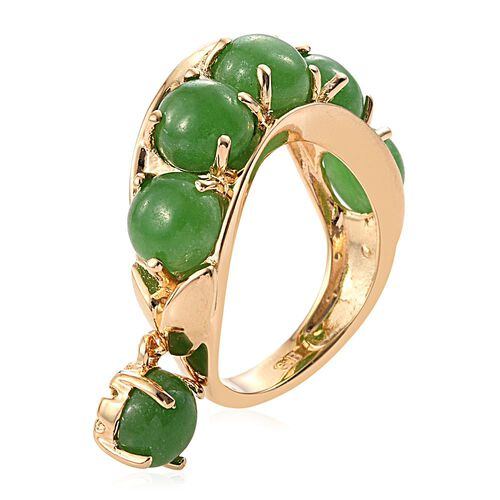 Green Jade (Rnd) Ring in ION Plated 18K Yellow Gold Bond 6.000 Ct.