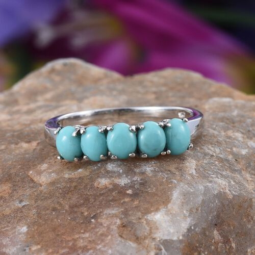 Sonoran Turquoise (Ovl) 5 Stone Ring in Platinum Overlay Sterling Silver 1.500 Ct.