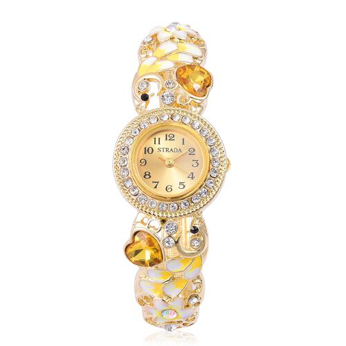 STRADA Japanese Movement Simulated Yellow Sapphire, White and Black Austrian Crystal Enameled Heart and Floral Design Bangle Watch in Gold Tone