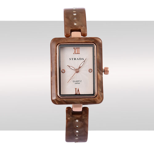 STRADA Japanese Movement White Austrian Crystal Studded Dial Watch in Rose Gold Tone with Chocolate Colour Strap