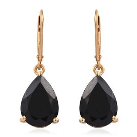 Boi Ploi Black Spinel (Pear) 11.75 Carat Silver Lever Back Earrings in 14K Gold Overlay