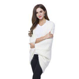 Designer Inspired White Winter Boho Chic Sleeve Kimono (Size 108x48 Cm)
