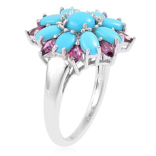 Arizona Sleeping Beauty Turquoise (Rnd), Rhodolite Garnet Floral Ring in Rhodium Plated Sterling Silver 2.450 Ct.