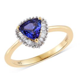 ILIANA 18K Y Gold AAA Tanzanite (Trl), Diamond (SI/G-H) Ring 1.000 Ct.