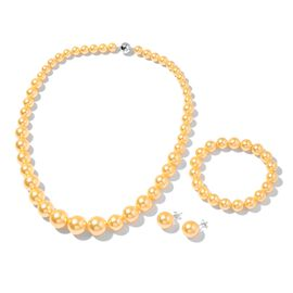 Golden Shell Pearl (Rnd) Graduated Necklace (Size 20) with Magnetic Clasp, Stretchable Bracelet (Size 7) and Ball Stud Earrings (with Push Back) in Rhodium Plated Sterling Silver