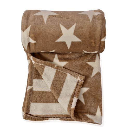 100% Supersoft Microfibre Flannel Reversible Stars and Stripes Creme Colour Blanket (Size 200x150 Cm)