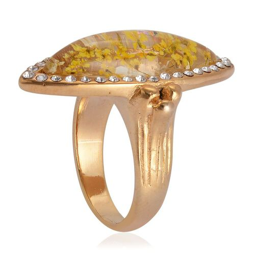 Natural Flower Preserved with White Austrian Crystal Ring in ION Plated Gold with Stainless Steel