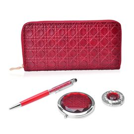 Set of 4 - Red Colour Ladies Clutch, Simulated Diamond Filled Ball Pen (Black Ink), Crystal Studded Bag Hook and Compact Mirror