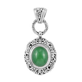 One Time Mega Deal-Royal Bali Collection Green Jade (Ovl) Pendant in Sterling Silver 6.125 Ct.