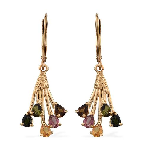 Rainbow Tourmaline (Pear) Lever Back Earrings in 14K Gold Overlay Sterling Silver 1.400 Ct.