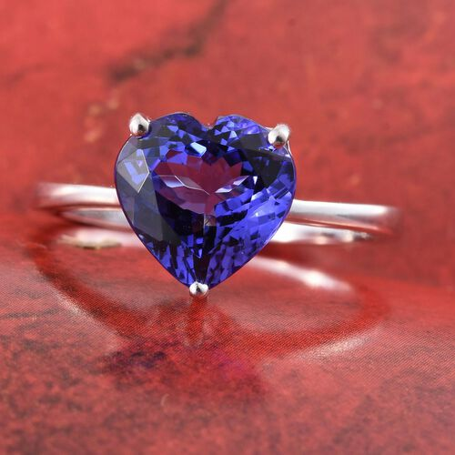 ILIANA 18K White Gold 3.50 Carat AAA Tanzanite (Hrt) Solitaire Ring