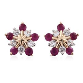 9K Yellow Gold 1.75 Ct AAA Burmese Ruby Snowflake Earrings (with Push Back) with Natural Cambodian Zircon