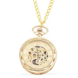 GENOA Automatic Skeleton Golden Dial Water Resistant Pocket Watch with Transparent Cover and Chain (Size 32) in Yellow Gold Tone