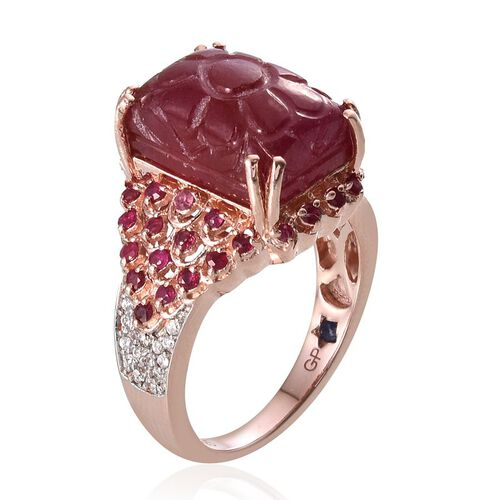 GP African Ruby (Oct 13.50 Ct), Kanchanaburi Blue Sapphire, Burmese Ruby and Natural Cambodian Zircon Ring in Rose Gold Overlay Sterling Silver 14.520 Ct.