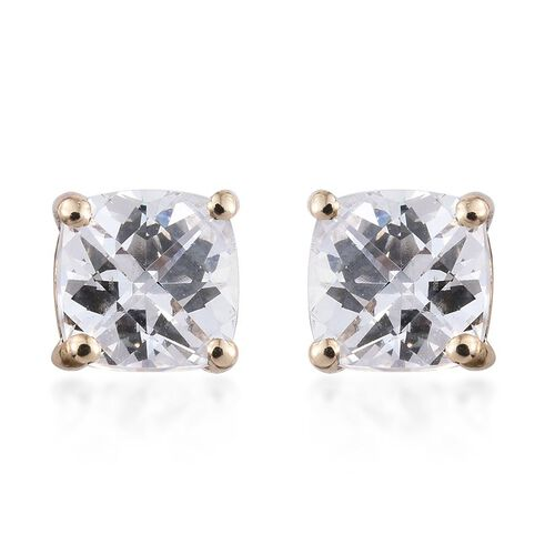 Checkerboard Cut 9K Y Gold (Cush) Stud Earrings (with Push Back) Made with SWAROVSKI ZIRCONIA