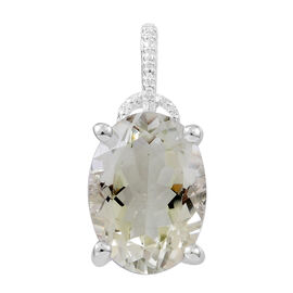 Green Amethyst (Ovl) Solitaire Pendant in Rhodium Plated Sterling Silver 5.500 Ct.