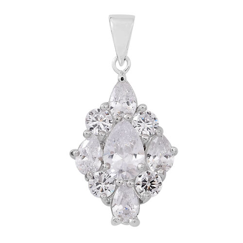 ELANZA AAA Simulated Diamond (Pear) Pendant in Rhodium Plated Sterling Silver