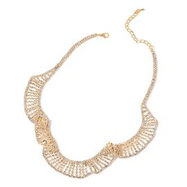Designer AAA White Austrian Crystal Wave Necklace (Size 20 with 2 inch Extender) in Yellow Gold Tone