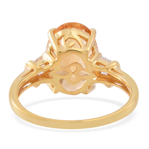 AAA Citrine (Ovl 5.00 Ct), White Topaz Ring in 14K Gold Overlay Sterling Silver 6.000 Ct.