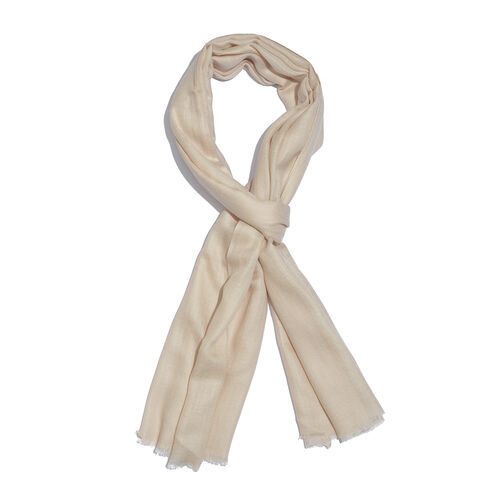 Limited Available - 100% Fine Cashmere Wool Cream Colour Shawl (Size 200x70 Cm)