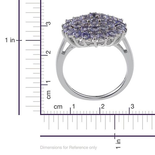 Tanzanite (Rnd) Cluster Ring in Platinum Overlay Sterling Silver 2.500 Ct.
