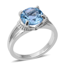 Blue Topaz (Rnd) Solitaire Ring in Rhodium Plated Sterling Silver 3.500 Ct.