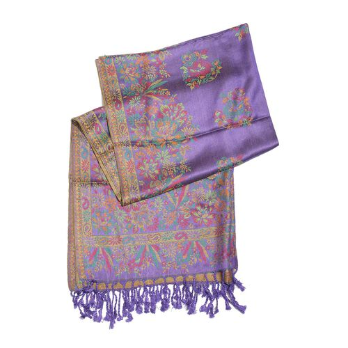 Purple, Pink and Multi Colour Floral and Paisley Pattern Scarf with Tassels (Size 190X70 Cm)