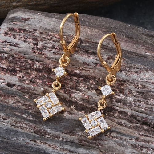 J Francis - 14K Gold Overlay Sterling Silver (Sqr) Lever Back Earrings Made with SWAROVSKI ZIRCONIA
