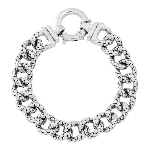 Statement Collection Sterling Silver Curb Bracelet (Size 8), Silver wt 32.51 Gms.