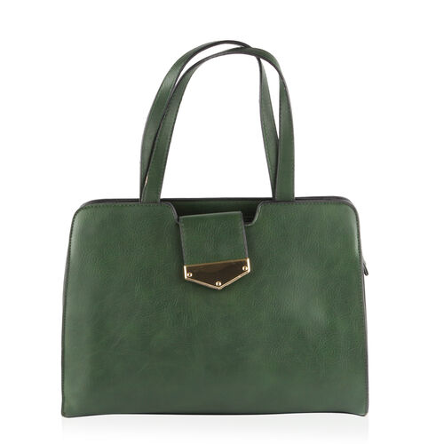Green Colour Tote Bag with External Zipper Pocket and Adjustable and Removable Shoulder Strap (Size 33X24.5X12 Cm)