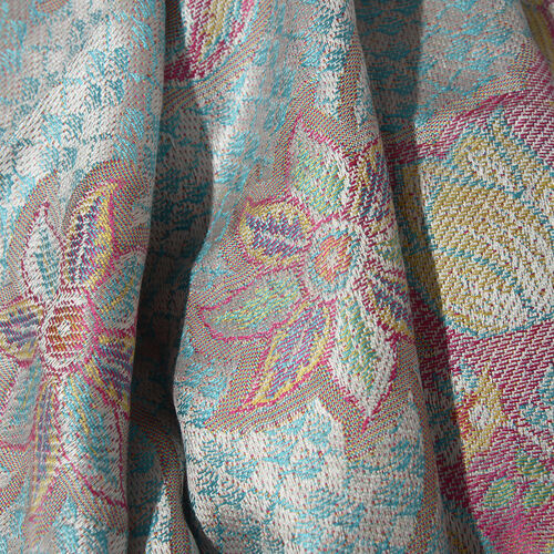 SILK MARK - 100% Superfine Silk Turquoise, Pink and Multi Colour Flower, Paisley and Leaves Pattern Jacquard Jamawar Scarf with Tassels (Size 180x70 Cm) (Weight 125 - 140 Gms)