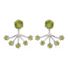 Hebei Peridot (Rnd) Jacket Earrings (with Push Back) in Rhodium Plating Sterling Silver 6.390 Ct. Silver wt 5.56 Gms.