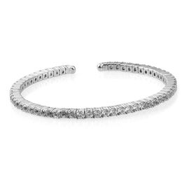 2.72 Ct Natural Cambodian Zircon Bangle in Platinum Plated Silver 16.68 gms 7 Inch