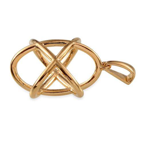 Designer Inspired 14K Gold Overlay Sterling Silver Orbit Knot Pendant, Silver wt 4.25 Gms.