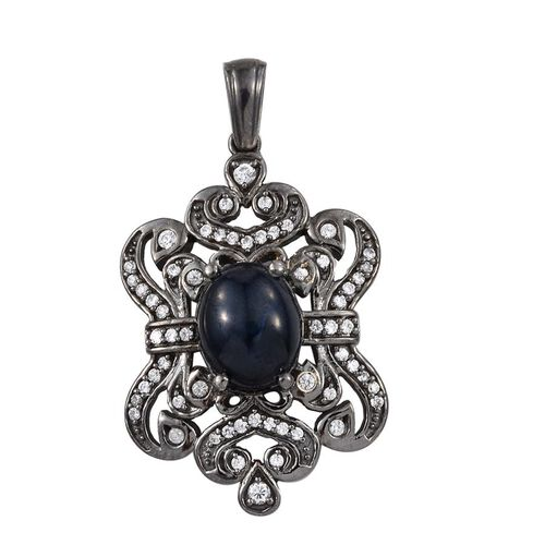 Black Star Diopside (Ovl), Natural Cambodian Zircon Pendant with Chain in Black Gold Plated Silver 2.941 Ct.