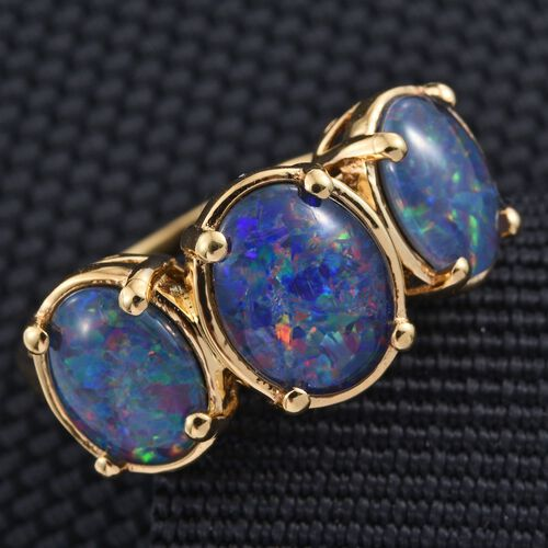 Boulder Opal Triplet (Ovl 1.75 Ct) 3 Stone Ring in 14K Gold Overlay Sterling Silver 4.250 Ct.