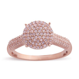 Limited Edition 9K Rose Gold Natural Pink Diamond (Rnd) (I2-I3) Ring 0.500 Ct. Gold Wt 4.00 Gms. Number of Diamonds 129