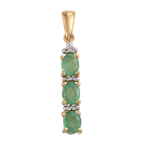 Zambian Emerald 1 Carat Silver Trilogy Pendant in Gold Overlay