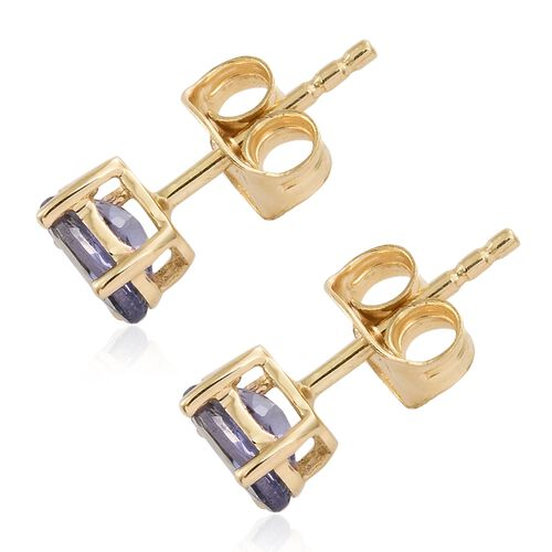 9K Yellow Gold 0.50 Ct AA Green Tanzanite Solitaire Stud Earrings (with Push Back)
