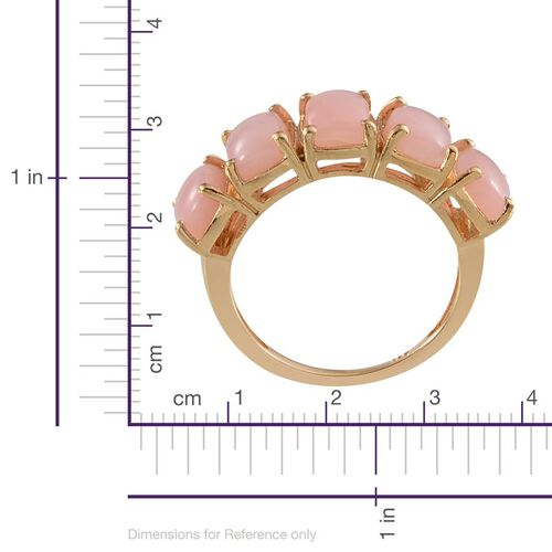 Peruvian Pink Opal (Cush) 5 Stone Ring in Yellow Gold Overlay Sterling Silver 4.250 Ct.